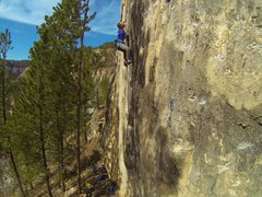 Rock Climbing Photo: Cali sending Big Train, 5.13a  Iron Horse Wall. Bl...