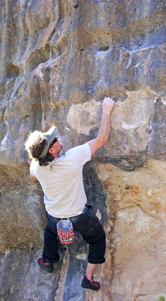James Q Martin in a rare appearance on a boulder.