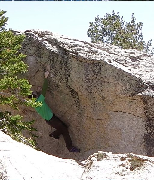 Setting up for the crux left bump