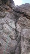 Rock Climbing Photo: Photo of the crux wall. It does take gear. I think...