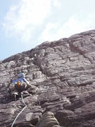 Rock Climbing Photo: Fergen just beyond the crux.  You can see the larg...