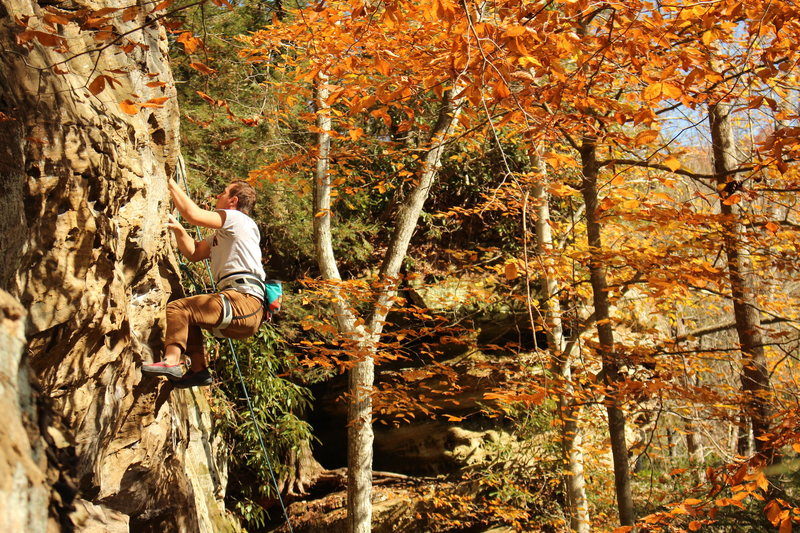 Climbing through the crux on a beautiful Fall day