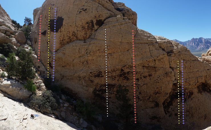 Rock Climbing Photo: Rough guide to routes from left to right (R-red, Y...