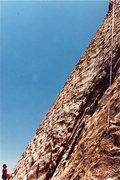 Rock Climbing Photo: Hesitation in profile. 1986