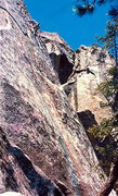 Rock Climbing Photo: Unknown climber in the cruxy area of the second pi...