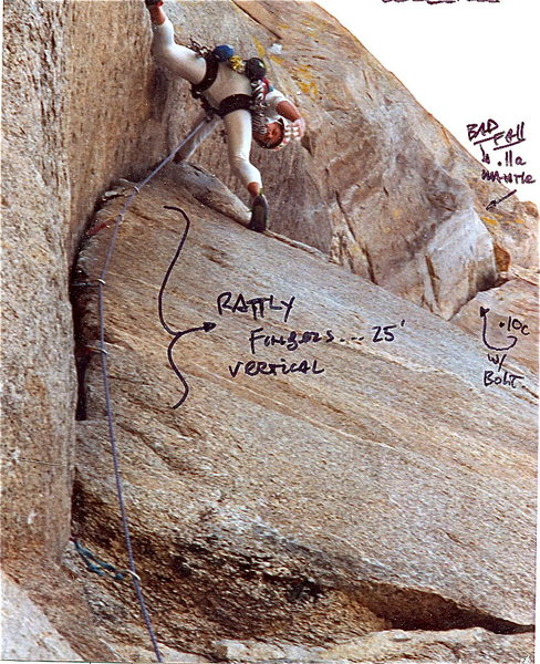Peter Hayes atop the cranky .10d section of the lower Bat Crack circa, 1990.