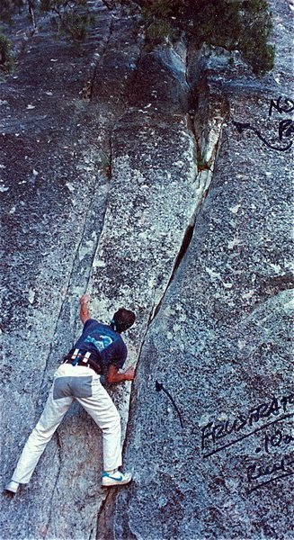 Rock Climbing Photo: Toying with the crux low down. 1986