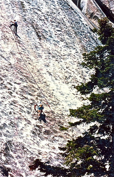 Not a good belay. If you look carefully, you'll spot the two protection bolts on this, the first pitch. 1986