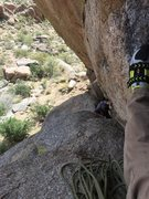 Rock Climbing Photo: From belay at top of first pitch.  Terry chimneyin...