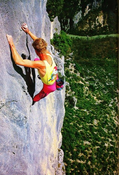 Rock Climbing Photo: Phillipe Plantier free-soloing the last pitch of L...
