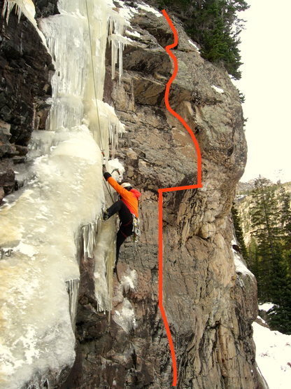 This photo illustrating the route was taken from a kind submission showing a climber on nearby L of Lochluster.