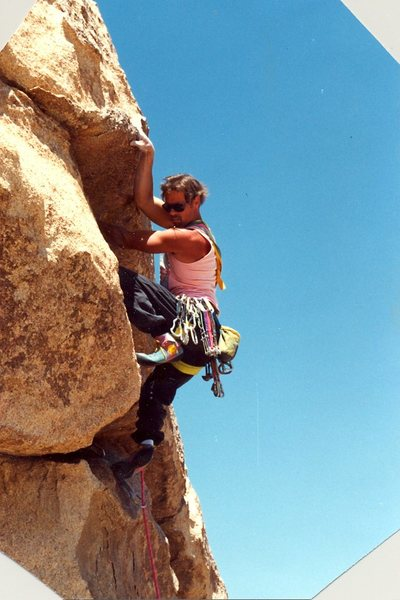 Peter Hayes above the crux, 1991.