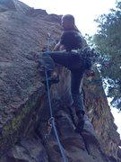 Rock Climbing Photo: Launching onto the arête.