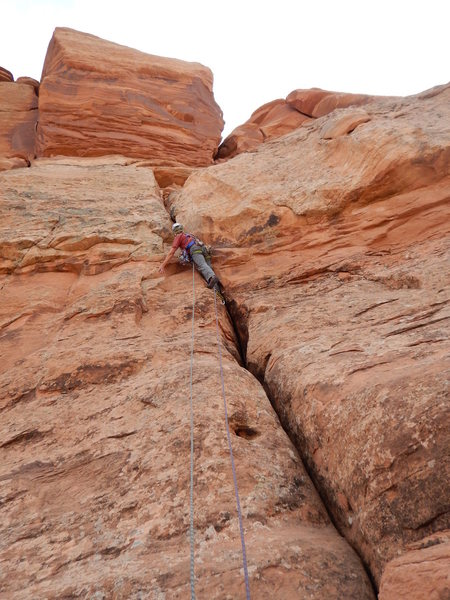 5.8 ish route on the right side of the North Face (West Ridge Route??)