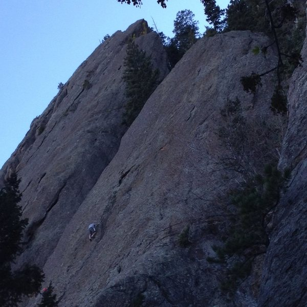 Soloist about 2/3 up.  We climbed further right than this....