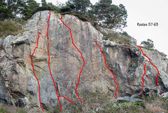 Rock Climbing Photo: Topo from my upcoming Patrick's Point guide. PO Wa...