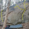 Another spot with a few routes on the way in to the Backwoods Wall. It is at aprox. 41.62489, -71.77506 .