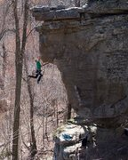 Rock Climbing Photo: Connor Dykes sticking the crux jump on his send go...