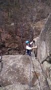 Rock Climbing Photo: My buddy Dominic on one of his first trips outside