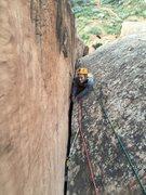 Rock Climbing Photo: Nikki nearing the anchor.