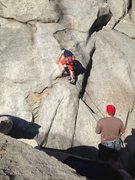 Rock Climbing Photo: The crux, plant a foot and go