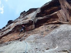 Rock Climbing Photo: Jeff pulling the roof near the start of the second...