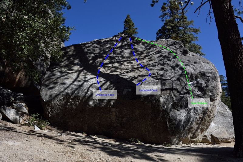 Rock Climbing Photo: The two unnamed face problems on the cosmos boulde...