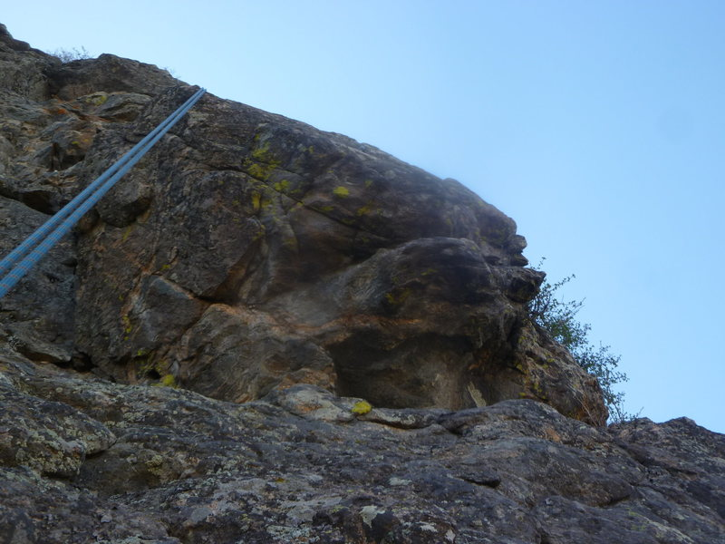 The crux block.  Climb is to right of rope.