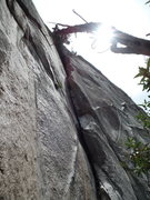 Rock Climbing Photo: climb up the obvious chimney to the large tree