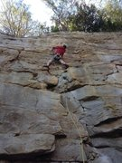 Rock Climbing Photo: Clipping the 3rd bolt before entering the crux