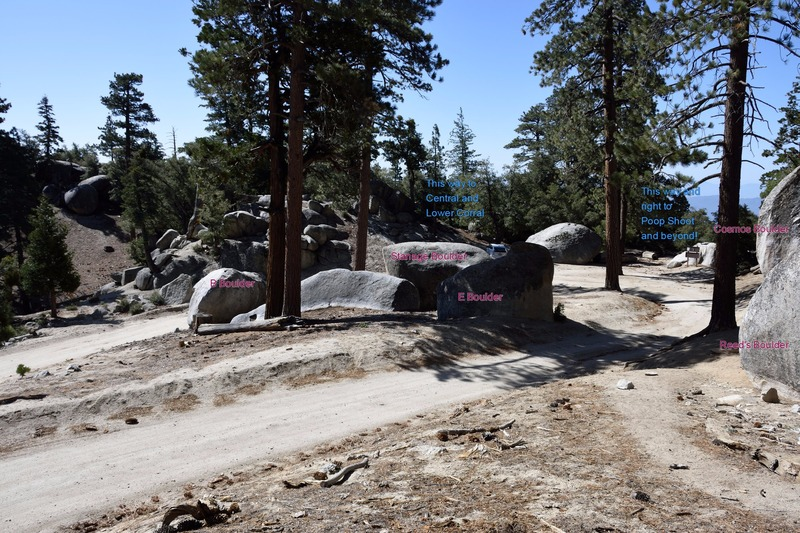 A view of the middle roadside boulders and parking area