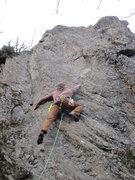 Rock Climbing Photo: Joe skipping the 1st bolt through the crux to B2.
