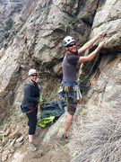 """Rock Climbing Photo: Hanging to make that first """"dicey"""" clip ..."""