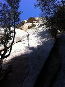 Rock Climbing Photo: The route goes up the thin crack to the defined co...