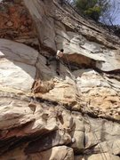 Rock Climbing Photo: About to pull the sidepull flake (crux in my opini...