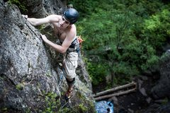 Rock Climbing Photo: Shaolin's Way 5.9b in Rumney NH