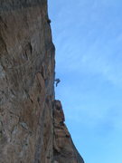 Rock Climbing Photo: Kiff falling off one of the crux moves.