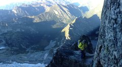 Belay ledge midway up the Gendarme
