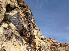 Rock Climbing Photo: Sam leading off on pitch 6.