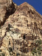 Rock Climbing Photo: Upper pitches seen from large midway ledge. Pitch ...