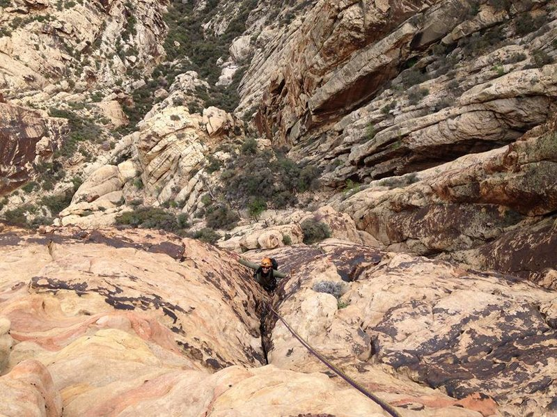 Rock Climbing Photo: Sam following the last section of pitch 7.