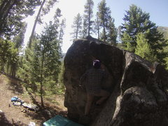 Rock Climbing Photo: Step up on the small foot hold and go for the top.