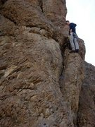 Rock Climbing Photo: Protecting the crux- Yellow Totem, or a gray x4 wo...