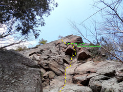 Rock Climbing Photo: After the small roof 1/3rd on The Good, The Bad, a...