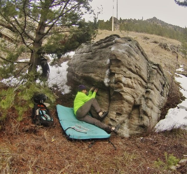 Rock Climbing Photo: Real low on the sit start. Fun  moves on this prob...