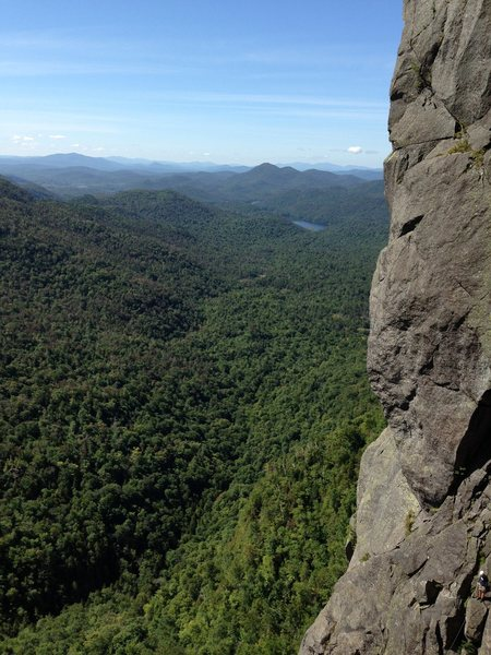 Grant in the bottom corner after I lead the diagonal pitch. Super fun climbing!
