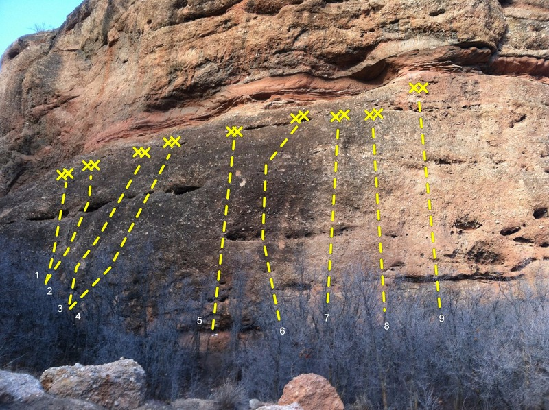 Rock Climbing Photo: 1-Play Misty (5.6) 2-Two Mules (5.7) 3-Thunderbolt...