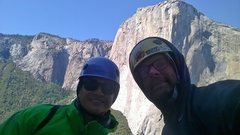 Rock Climbing Photo: Chillin w el cap on the background on top of centr...