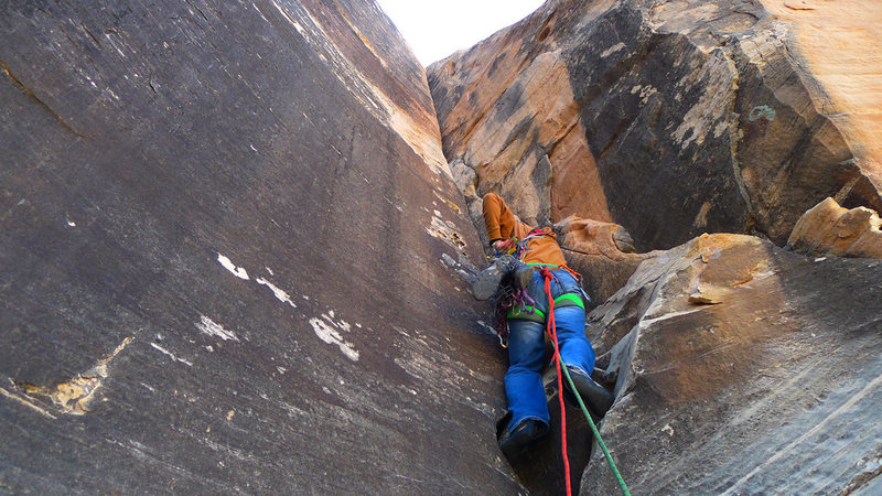 First pitch, easy 5.10 crack in corner. Gets wide at the top though.