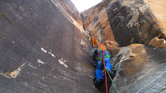 Rock Climbing Photo: First pitch, easy 5.10 crack in corner. Gets wide ...